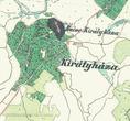 Королево та замок Нялаб на фрагменті австрійської карти, створеної в 1806 - 1869 роках