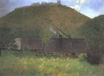 Хустський замок на малюнку Симона Холлоші, 1896 рік