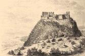 Хустський замок на малюнку Л. Рохбока 1
